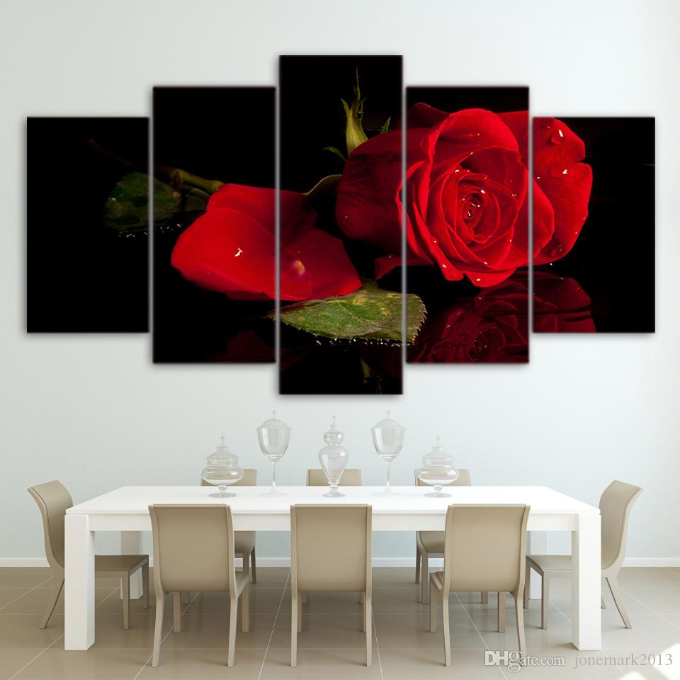Canvas Art Rose Canvas Print Flower Blooming HD Printed Wall Art Home Decor Canvas Painting Picture Poster Prints NY-6582A
