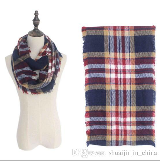Plaids Infinity Scarves Grid Loop Scarf Blankets Women Tartan Oversized Shawl Lattice Wraps Fringed Cashmere Pashmina YYA176