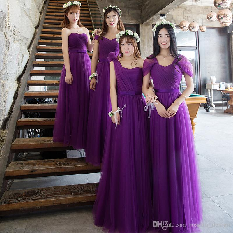 In Stock Purple Bridesmaid Dresses Long Tulle Sash Ruched Wedding ...