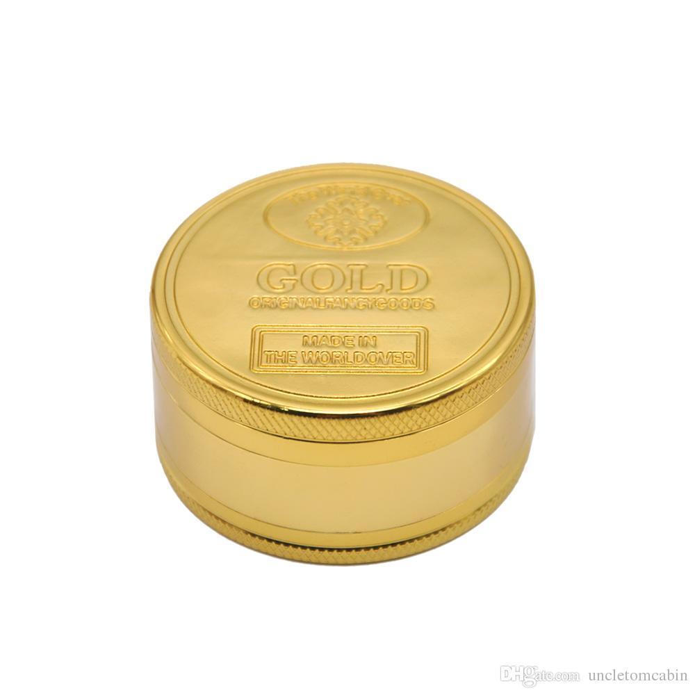 50MM 3 Layer/4 Layer GOLD Zinc Alloy Metal Herb Grinder Spice Tobacco Grinder Spice Crusher Hand Muller