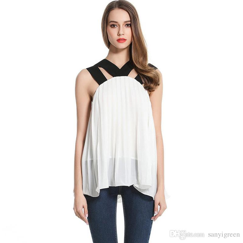 2017 White Shirt Female New 2017 Fashion Summer V Neck Sleeveless ...