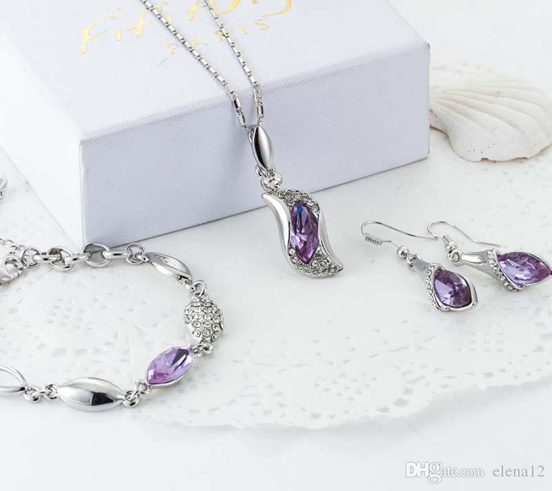 Austria Crystal Rhinestone Jewelry Set Water Drop Design Stylish Necklace Earrings Bracelet jewelry sets fashion wedding necklace Trend