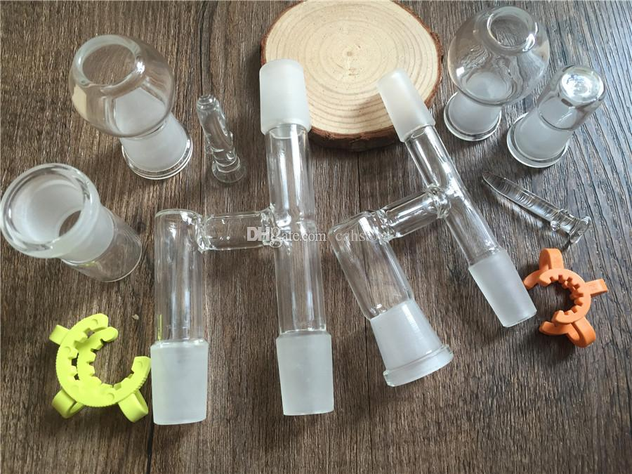 Glass Oil Reclaimer Kit 90 Grad männlich weiblich Joint Glass Adapter für Bongs Oil Rig Dab Abnehmbare Bodenglas Keck Clip Dome
