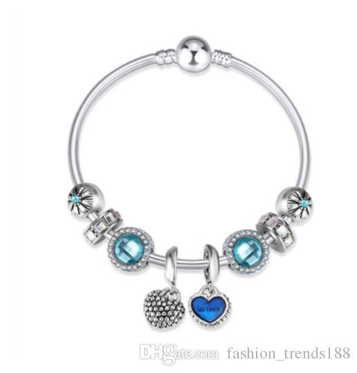 f29de04dcc3f Compre Nueva Llegada 925 Sterling Silver Blue Austrian Crystal Charm Beads  Madre Hijo Colgante Fit Mujeres Pandora Pulsera Brazalete DIY Joyería A   6.97 Del ...