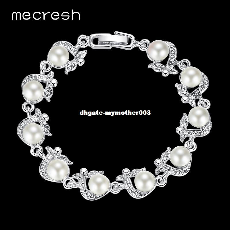 DHgate Perfectly Round Simulated Pearl Bracelets for Women Silver Color Handmade Wedding Friendship Pulseras Jewelry MSL236