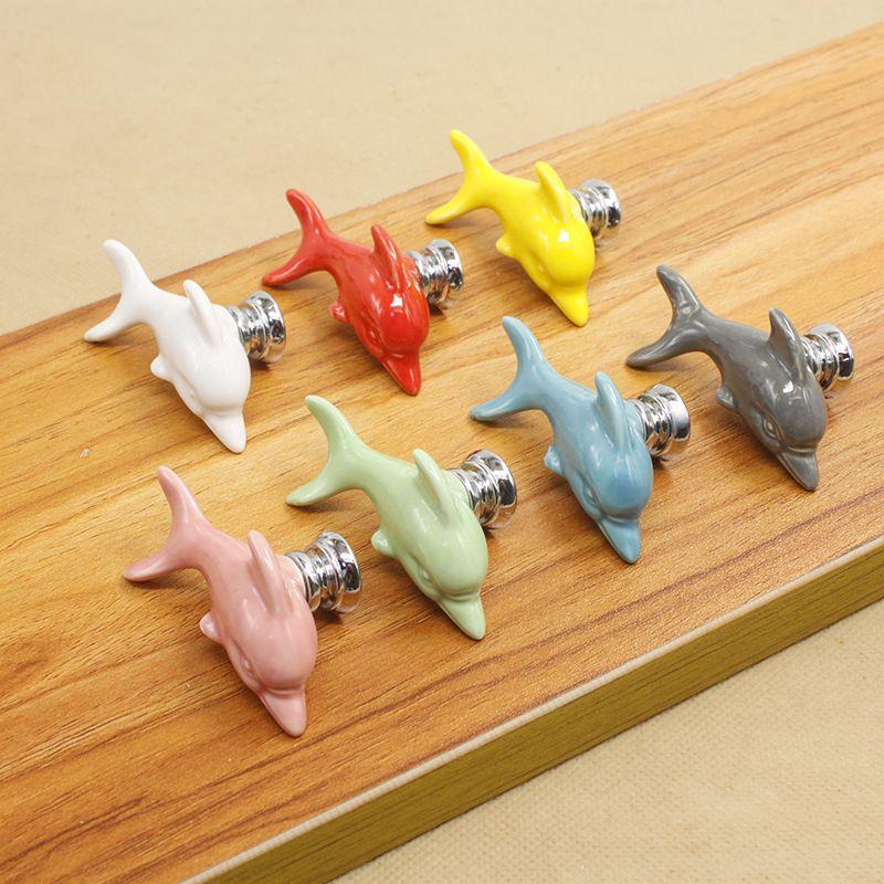 Dibujos animados delfín paloma pulpo animal pomo de la puerta de cerámica manija armario cajón simple solo orificio perillas maneja carga libre 3 85pn C R