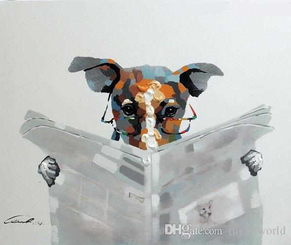 Online Cheap Framed Dog Reading Newspaper Article Terrier Specs ...