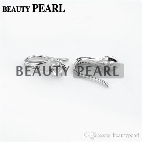 Earring Blanks 925 Sterling Silver with Cubic Zirconia Pearl Jewellery Findings Earwire 15*6mm Fishhook