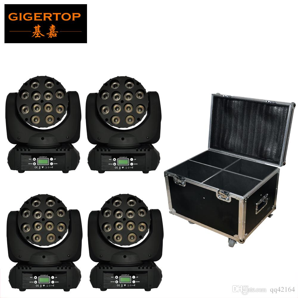 Flight Case 4in1 Pack 12x10W Cree 4-IN-1 Led Moving Head Beam Stage Light RGBW Color Chinese Stage Light Manufacturer