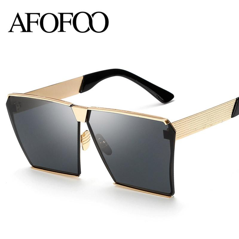 7188f2bb2c8 Wholesale-AFOFOO Fashion Oversized Sunglasses Metal Frame Square ...