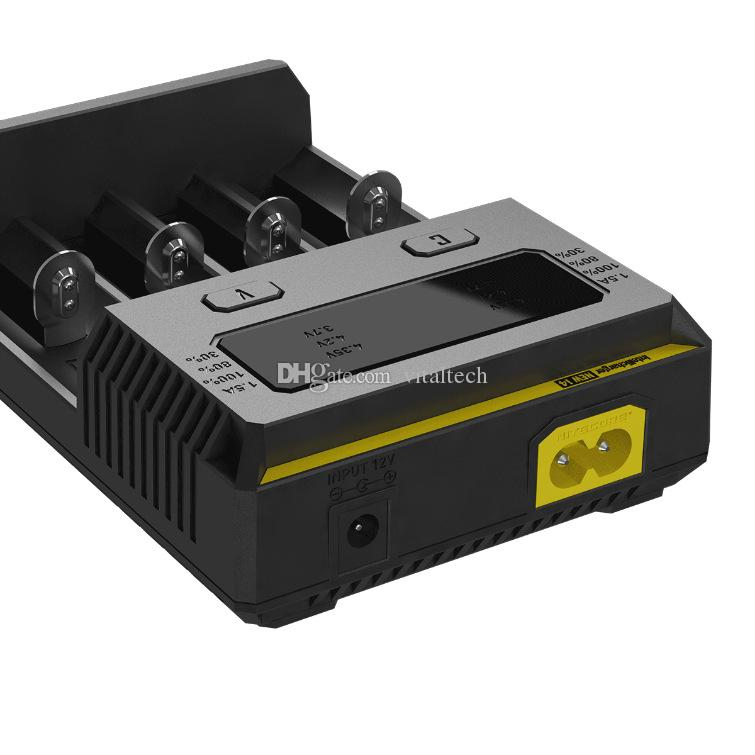 Original 2017 Novo I2 I4! Nitecore New i2 Carregador de Bateria com Display LED de Carregamento para 10340 10440 10500 12340 12500 12650 16650 etc