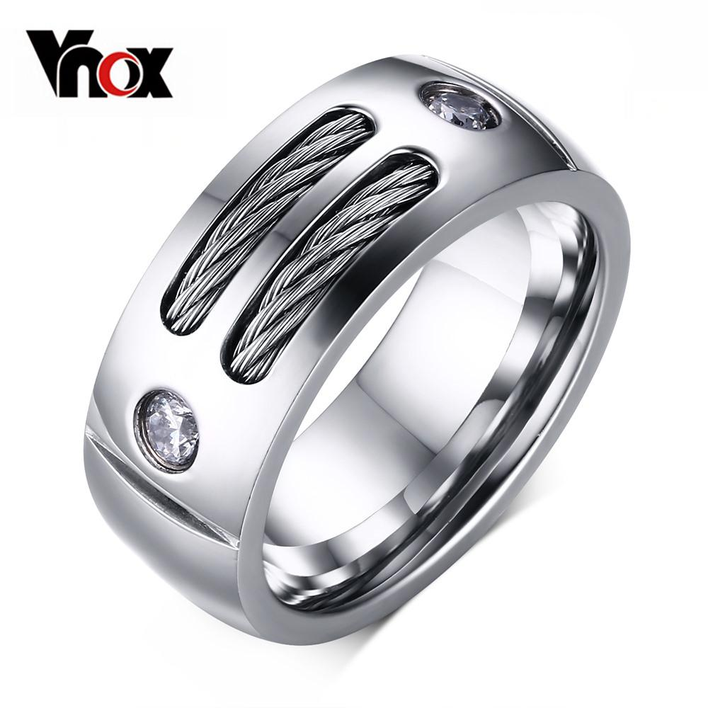 Best Vnox Men\'S Ring Stainless Steel Punk Rock Ring With Wire Cubic ...