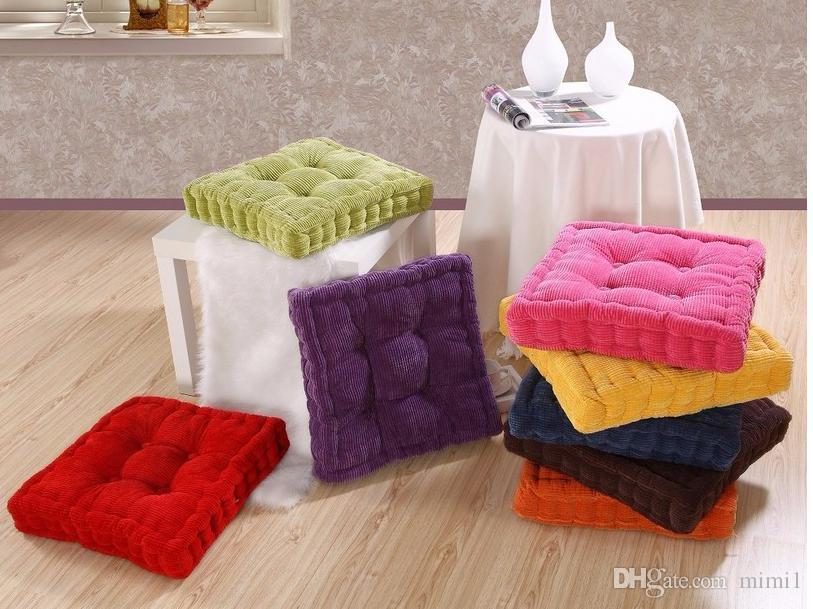 Sunnyrain Thick Corduroy Elastic Chair Cushions For Kitchen Chair Solid  Color Seat Cushion Square Floor Cushion Machine Washable Replacement Seat  Cushions ...