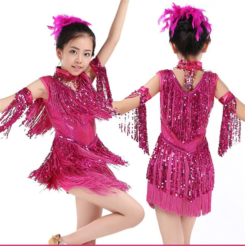 1c60609ffc92 2019 New Children'S Sequin Latin Dance Dress Girls Tassel Rumba Tango Sasa  Samba Ballroom Performance Costume Competition Latin Group 002 From ...
