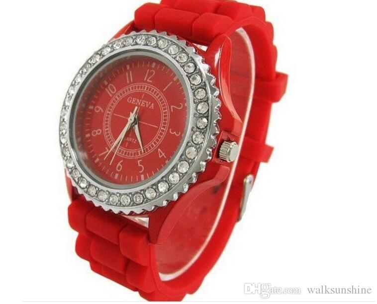 Wholesale Women's Geneva Fashion Crystal Jelly Gel Silicon Girl Candy Color watch Women's Quartz Wrist Watch
