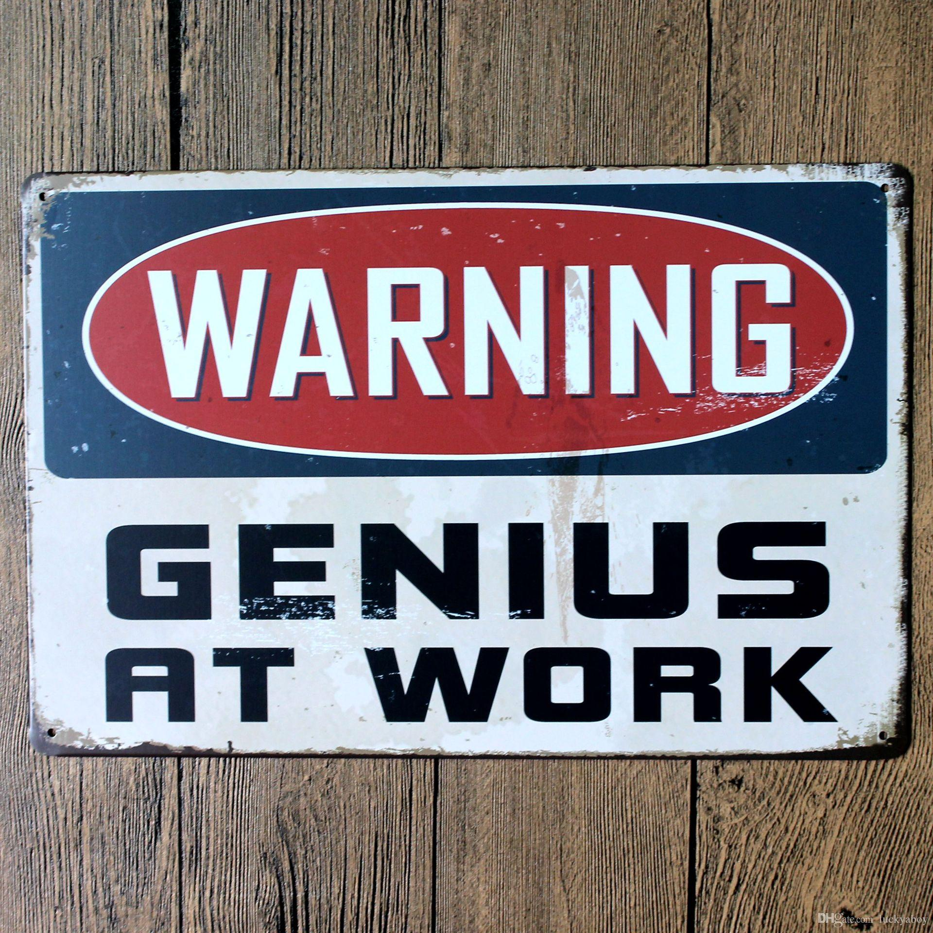 WARNING Nostalgic Ornaments Wall Decor Vintage Craft Art Iron Painting Tin Poster Cafe Shop Bar Home Decorate Mixed designs
