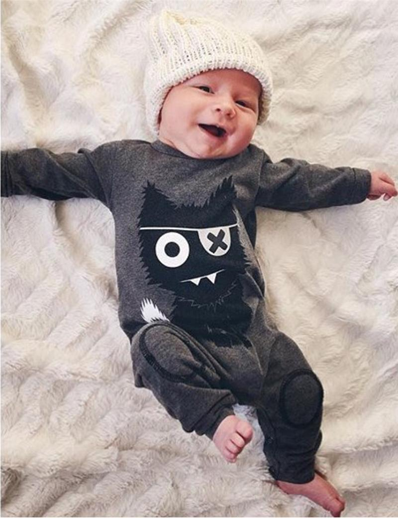 ab0dc14f526a7 New 2017 Autumn baby boy clothes Unisex Long sleeve little monsters baby  Romper Newborn toddler baby girl clothing set