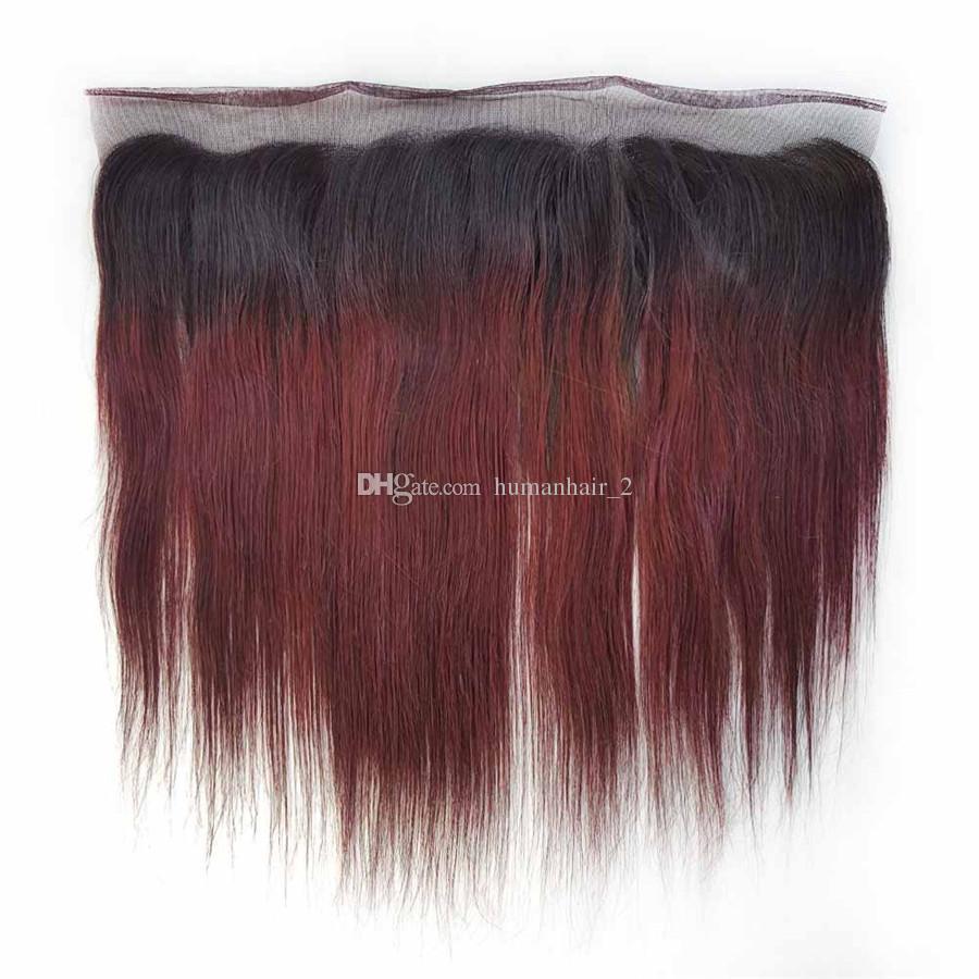 99j 와인 레드 인간의 머리카락 레이스 정면 클로저와 함께 부르고뉴 스트레이트 페루 버진 헤어가 13 * 4 레이스 정면 폐쇄와 엮어 낸다