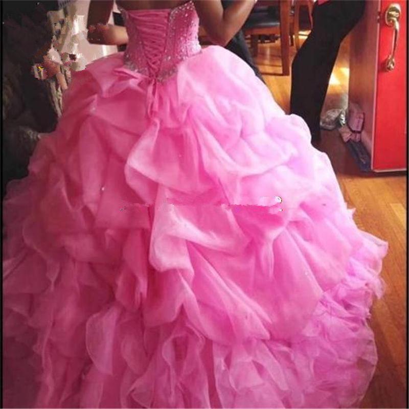 2018 Zarif Balığa Pembe Quinceanera Elbiseler Boncuk Aplikler ile Tatlı 16 Elbiseler 15 Yıl Balo Abiye Stpck QS1026