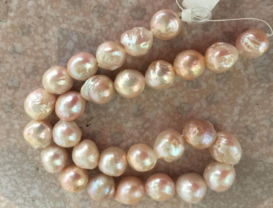 Fine Pearl Jewelry Ogromne wspaniały 13-14mm South Sea Cherry Cherry Pearls Naszyjnik 19inch 14K