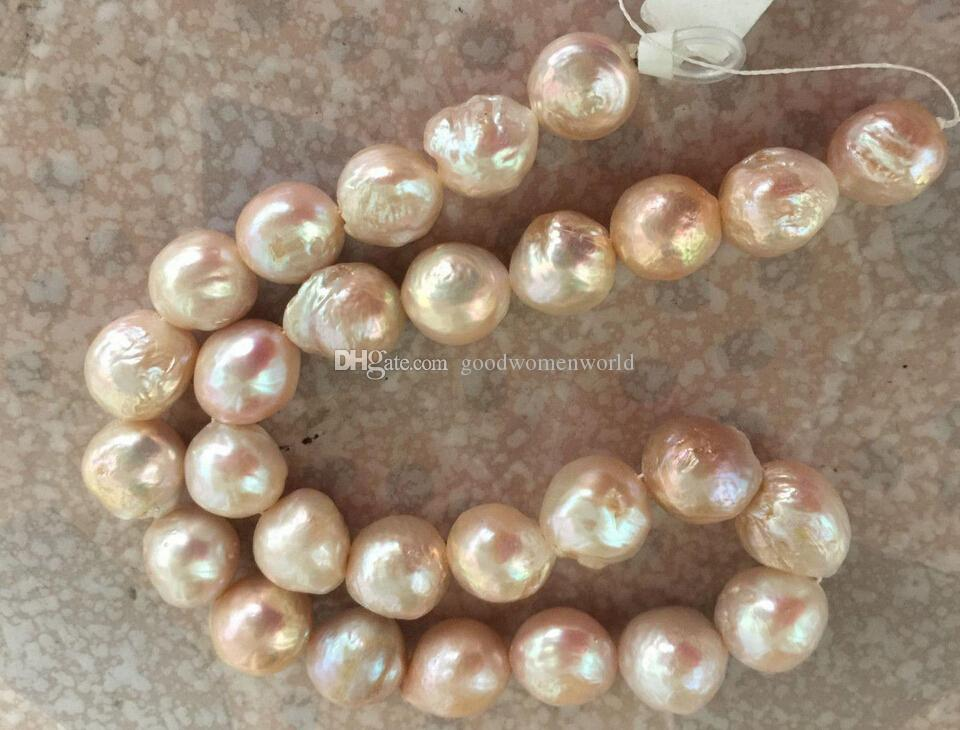 Fine Pearl Smycken Stora Gorgeous 13-14mm South Sea Cherry Pink Pearls Halsband 19Inch 14k