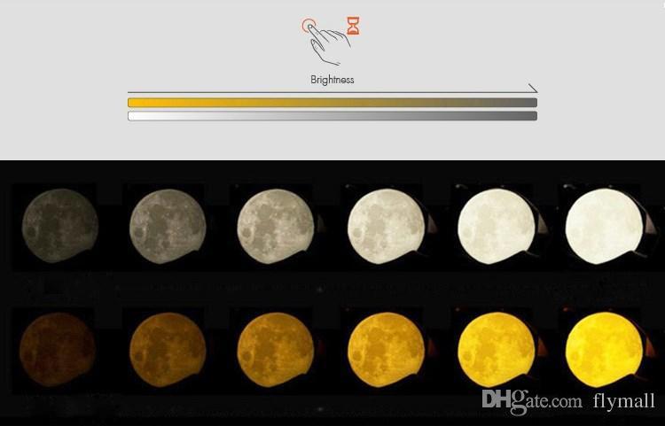 USB recargable Impresión en 3D Lámpara lunar Regulador táctil regulable Luna Luna Color de luz Brillo Luz de noche LED ajustable con soporte de madera