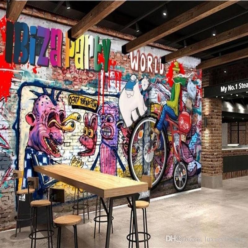 3d stereo custom personality graffiti wallpaper bar ktv lounge bar, Hause deko
