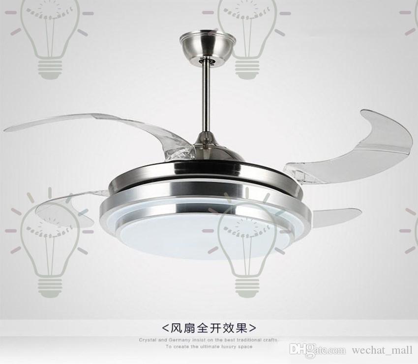 2017 современный хром круглой формы Светодиодные потолочные вентиляторы с складными невидимыми лезвиями 100-240 В невидимые потолочные вентиляторы светодиодные