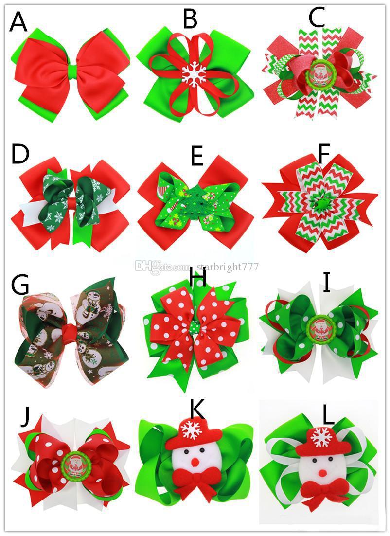 Girls cute Christmas big bow hair pins matte ribbon Xmas pattern printing headwear wave stripe snowflake snowman hair clips