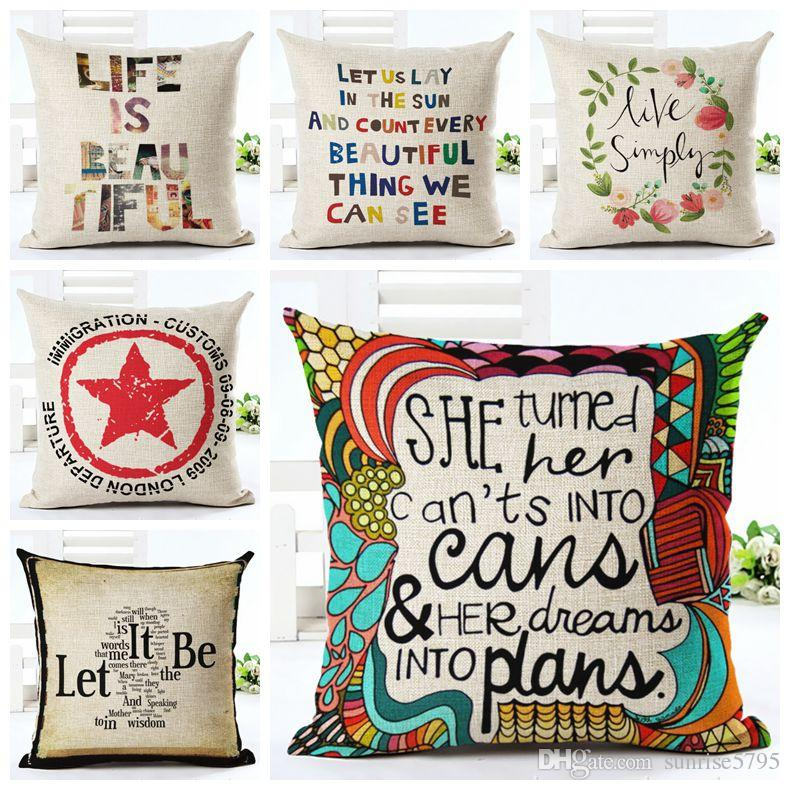 Vintage Letters Cushion Cover Love Quote Couch Sofa Throw Pillow