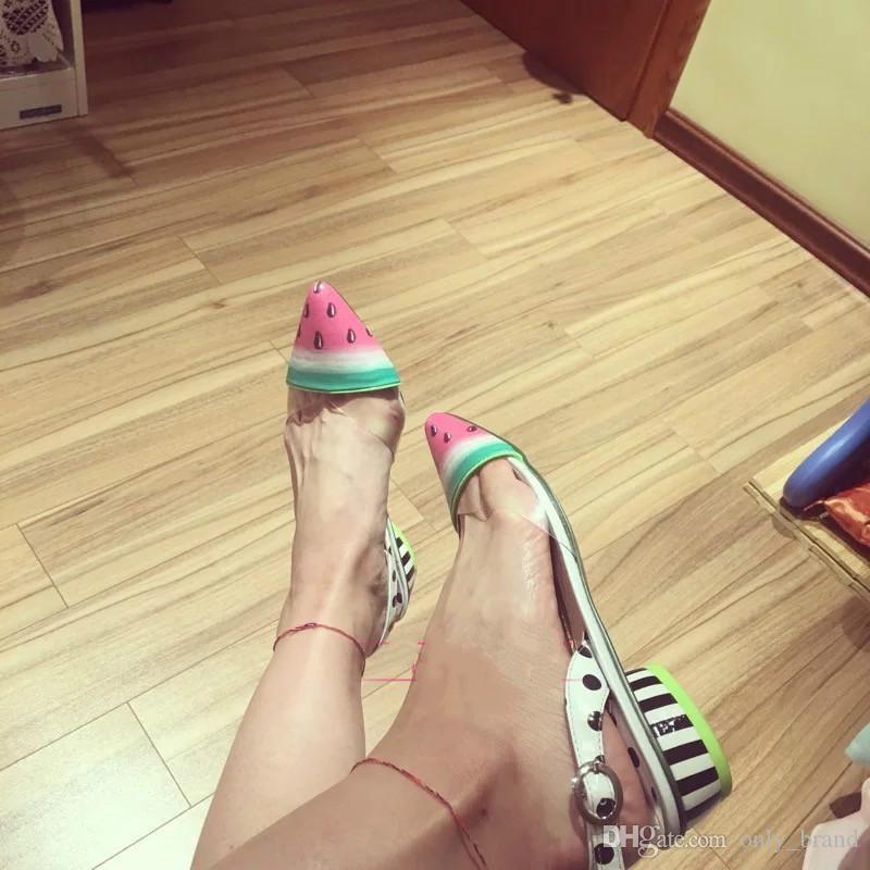 2017 verano nuevo estilo Westerm señaló los pies planos boca plana zapatos sandía patrón de moda sandalias femeninas