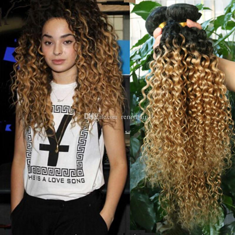 Cheap Two Tone Color 1b27 Honey Blonde Ombre Brazilian Kinky Curly