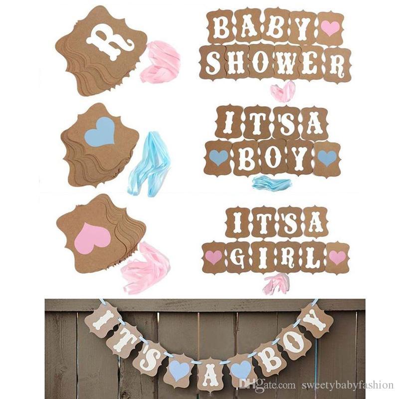 Kraft Paper Baby Shower Banner Its A Boy Girl Birthday Party Garland