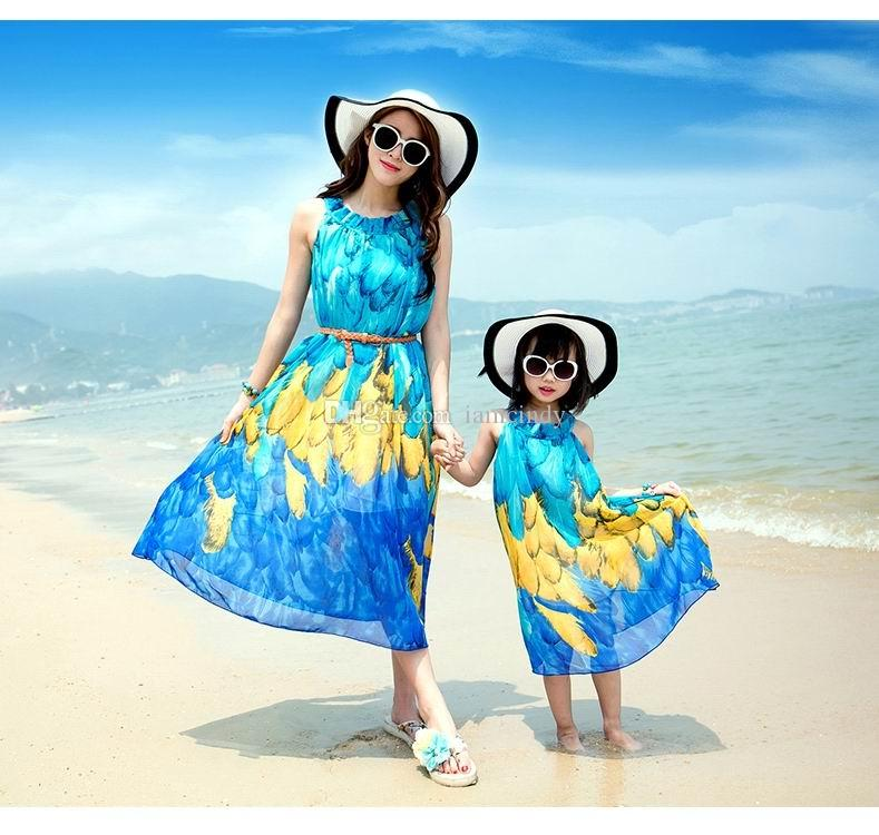Free Gift Mother Daughter Matching Dresses Girls Beach ...