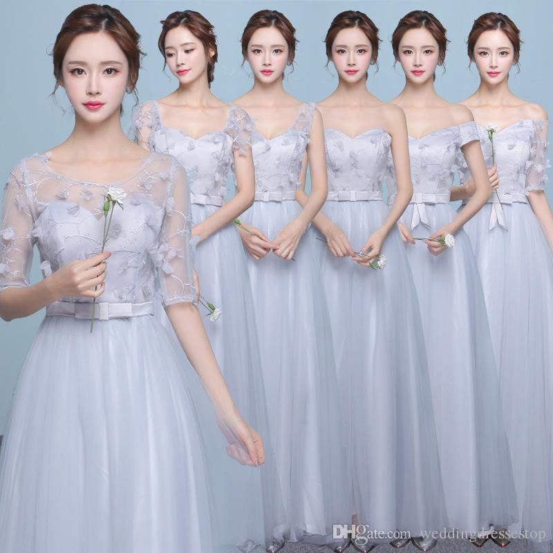 2017 Korean Party Prom Dress New Bride Bridesmaid Dresses A Word ...