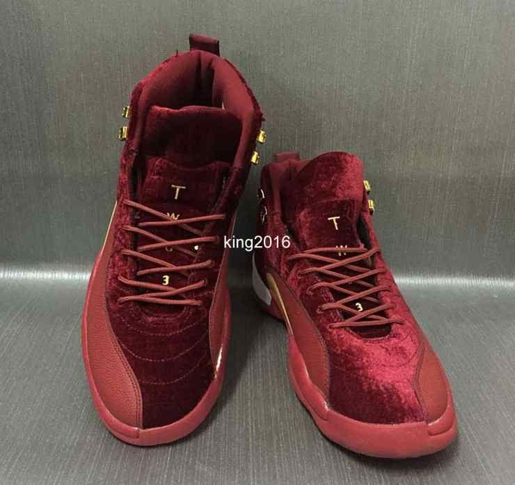 2017 Mens Women 12 XII Pleuche Basketball Shoes Men Wool Blue Black Red Purple Velvet Heiress Suede Sneakers 12s Sport Trainers Size 36-47