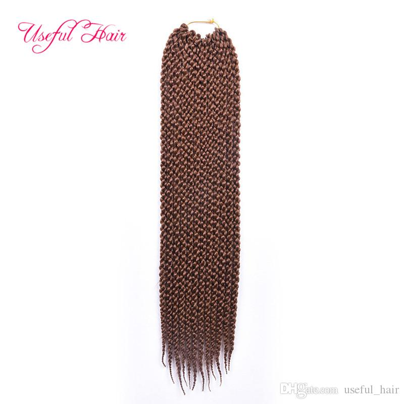 shippiing free 3D Cubic crochet torção Tranças extensões do cabelo 22inch atacado 6-cabeça cheia Kanekalon havana torção trançado em feixes