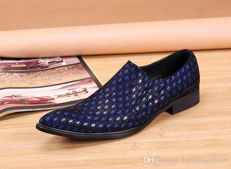 Echte Leder Herren Schuhe Bling Bling Art und Weise Spitzschuh Hochzeit formale Kleid-Schuhe Männer Flats Large Size