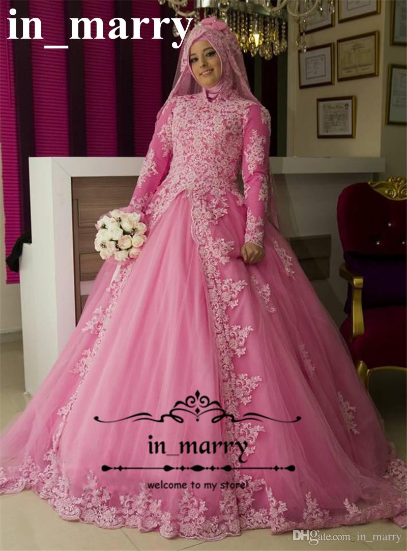 Discount Pink Lace Plus Size Islamic Wedding Dresses 2018 A Line ...