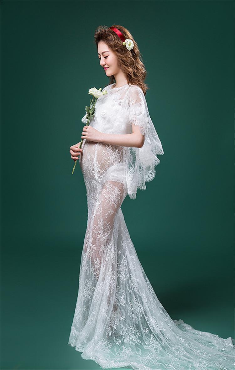Free Size Elegant Mermaid Evening Maternity Wedding Dresses Lace ...