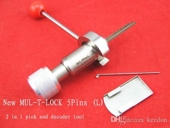 عالية الجودة MUL-T-LOCK 5 دبوس اليسار 2 في 1 أداة الأقفال المهنية قفل اختيار مجموعة الفضة المقاوم للصدأ