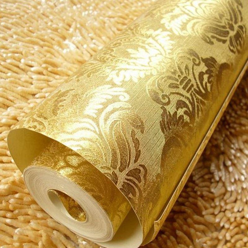 European Damascus Gold Foil Glitter Wallpaper Living Room Bedroom Tv ...