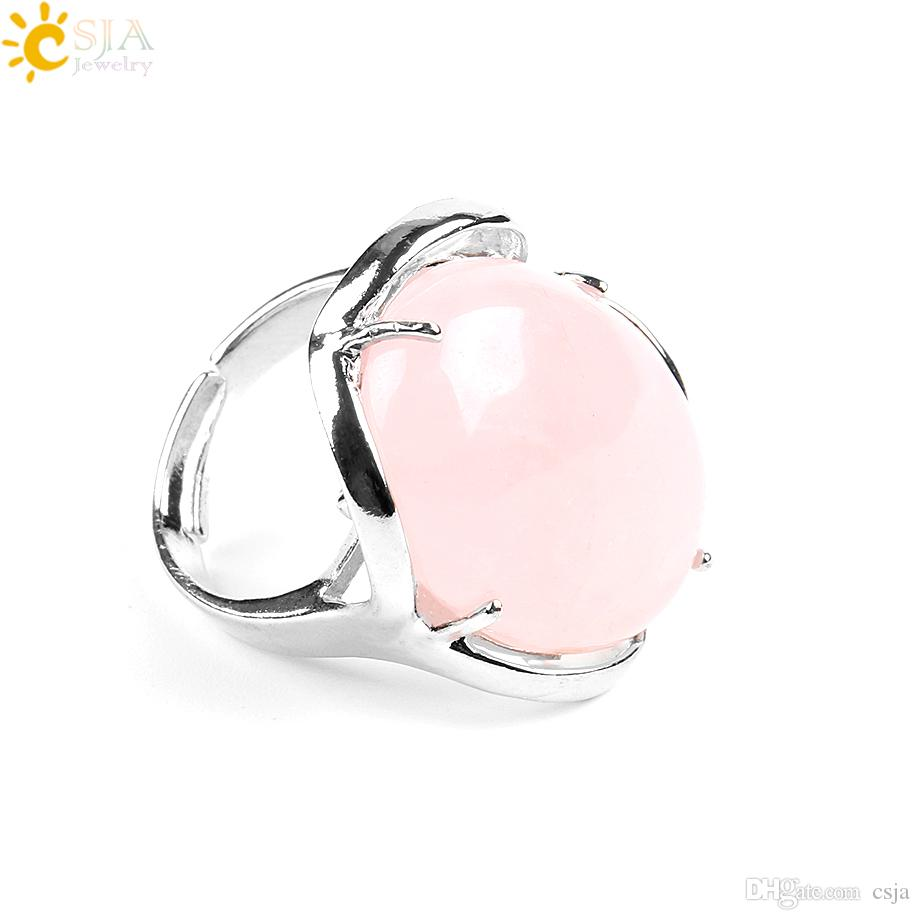 CSJA Big Size Single Oval Natural Agate Quartz Crystal Gemstone Prong Setting Solitaire Adjustable Silver Finger Midi Rings Jewelry E580 A