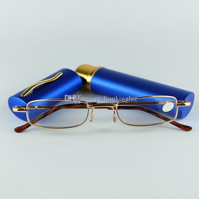 Venta caliente Gafas de Metal Lectura con Lápiz Clic Lectura Lentes Gafas de Lectura Gafas Marco Mujeres Hombres Mini Gafas 20 unids / lote
