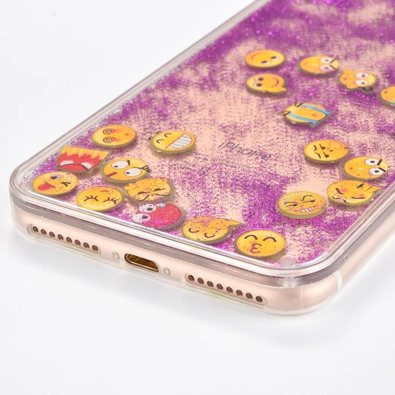 For Iphone 7/Plus/6 6S Bling Glow in Dark Moving Expression Transparent Colorful Liquid Cover Smile Glitter Hard PC+TPU Case Quicksand Skin