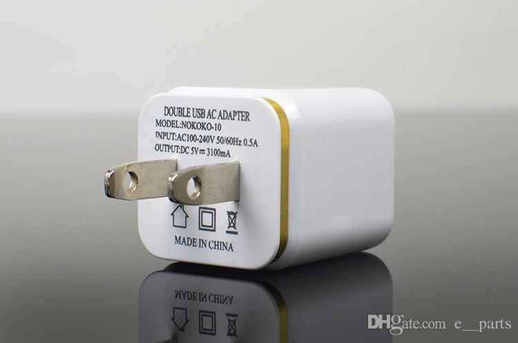 금속 듀얼 USB 벽 미국 플러그 2.1A AC 전원 어댑터 벽 충전기 플러그 2 포트 아이폰 삼성 갤럭시 참고 LG 태블릿 ipad 빠른 DHL에 의해