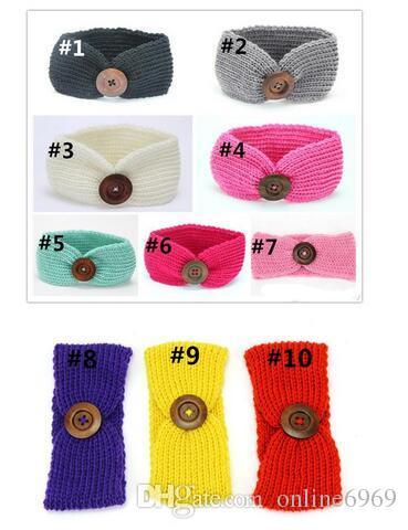 Смешайте 9 цветов детские шерстяные повязки вязаные шапки оголовье дети крючком волосы Луки ленты для волос банданы аксессуары для волос