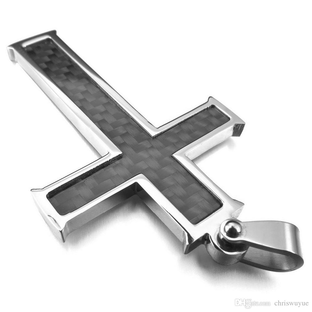 New Fashion High Quality Men's Carbon Fiber Pendant Necklace Silver Black Cross Stainless Steel Pendant jewelry