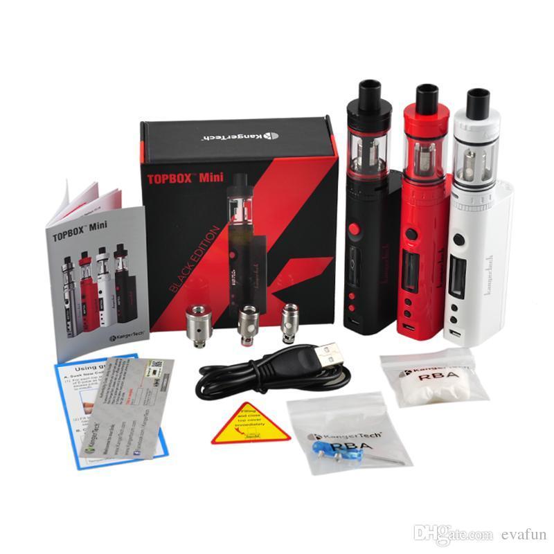Kanger Topbox Mini 75W Starter Kit con Top Refilling 4ml Toptank Mini Tank 75W TC Box Mod E Cigarrillo Kangertech Vape Vaporizer Mod Kit