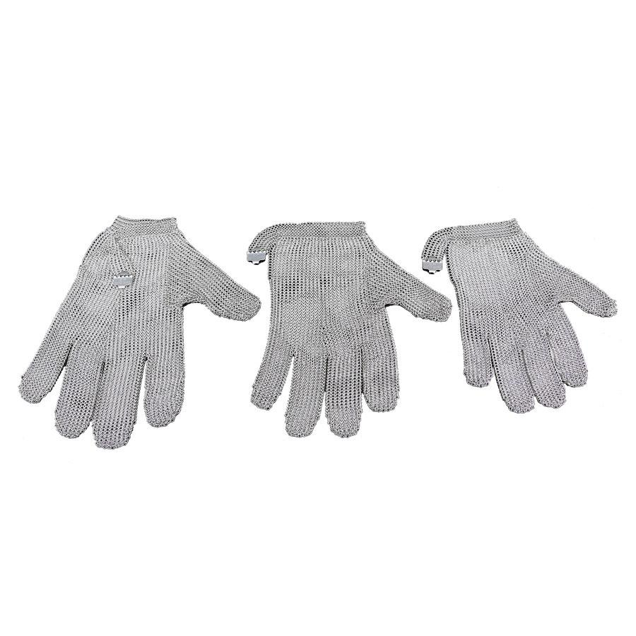Stainless Steel glove Mesh Metal Mesh Butcher Anti-cutting Gloves Five Fingers Steel Stove Wristbands Gloves Work Safety Gloves XL Chain